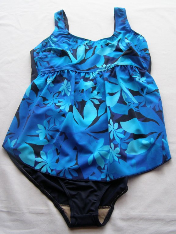Těhotenské plavky 0323-modrá květ